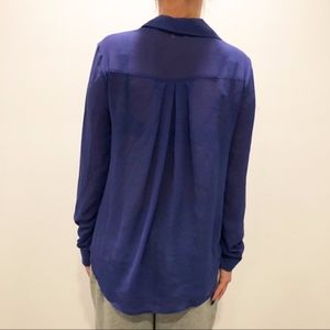 Tobi Tops - Tobi Faux Wrap Blue Blouse